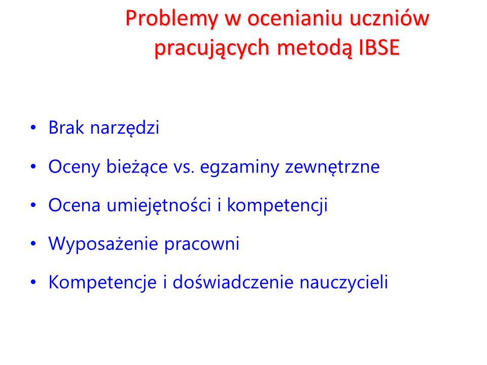 Problemy w ocenianiu uczniów pracujących metodą IBSE
