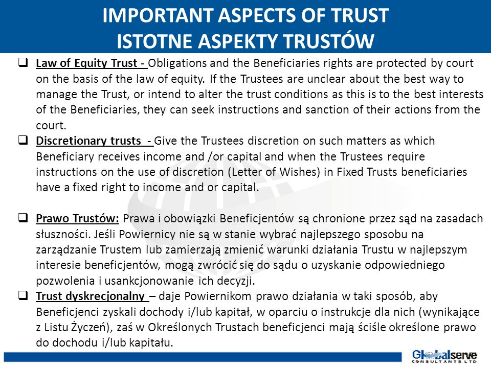 IMPORTANT ASPECTS OF TRUST ISTOTNE ASPEKTY TRUSTÓW