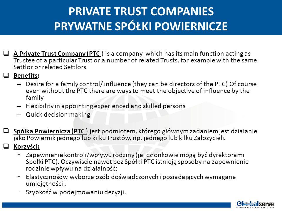 PRIVATE TRUST COMPANIES PRYWATNE SPÓŁKI POWIERNICZE