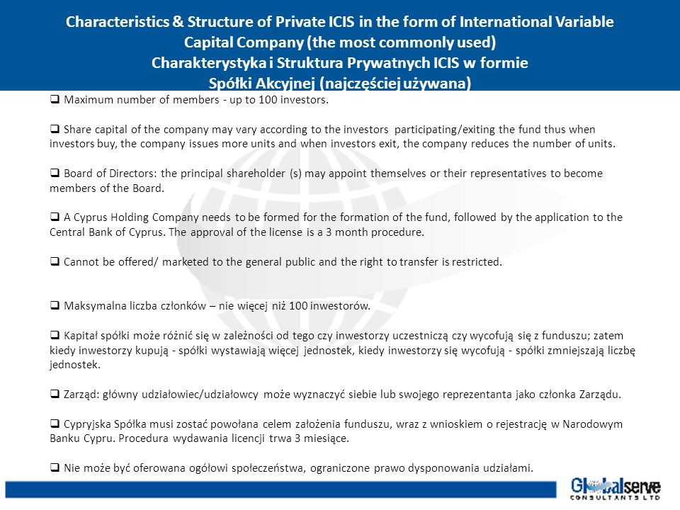 Characteristics & Structure of Private ICIS in the form of International Variable Capital Company (the most commonly used) Charakterystyka i Struktura Prywatnych ICIS w formie Spółki Akcyjnej (najczęściej używana)