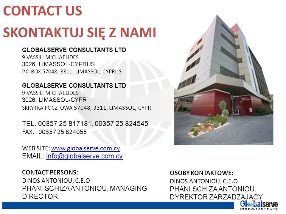 CONTACT US SKONTAKTUJ SIĘ Z NAMI TEL. 00357 25 817181, 00357 25 824545