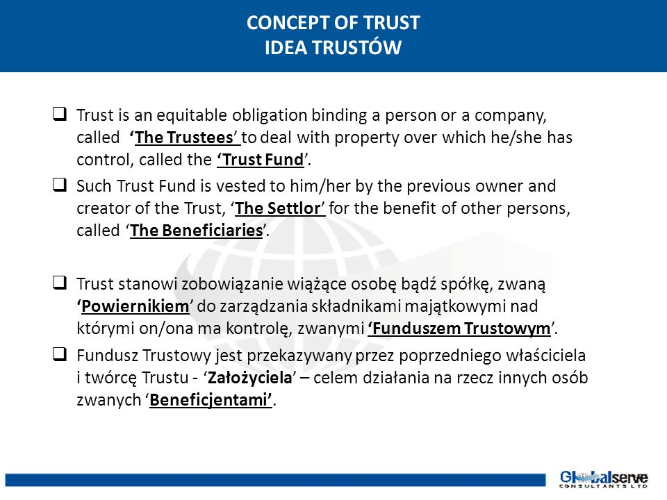 CONCEPT OF TRUST IDEA TRUSTÓW