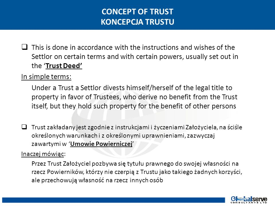 CONCEPT OF TRUST KONCEPCJA TRUSTU