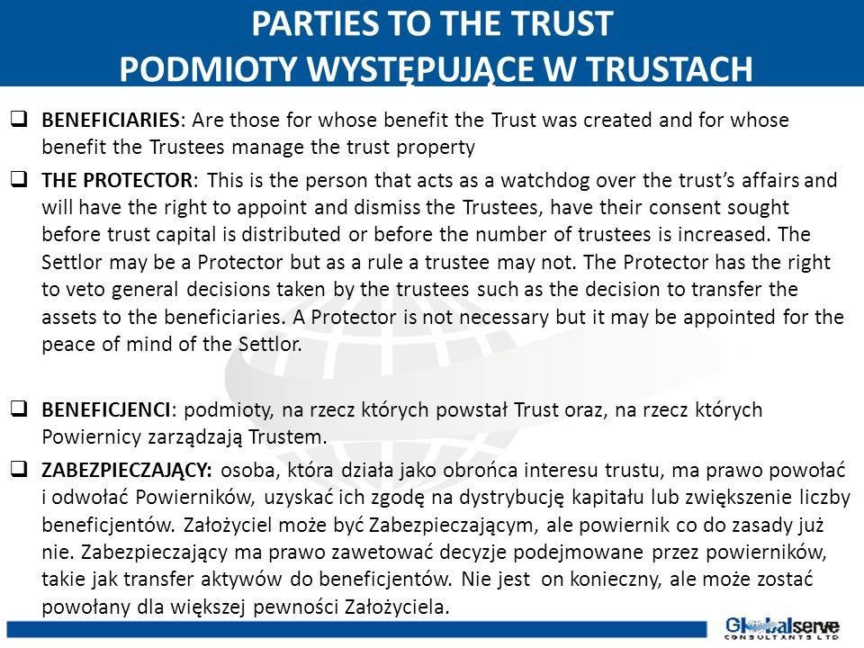 PARTIES TO THE TRUST PODMIOTY WYSTĘPUJĄCE W TRUSTACH