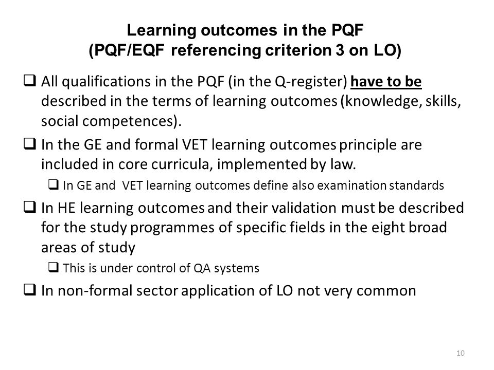 Learning outcomes in the PQF (PQF/EQF referencing criterion 3 on LO)