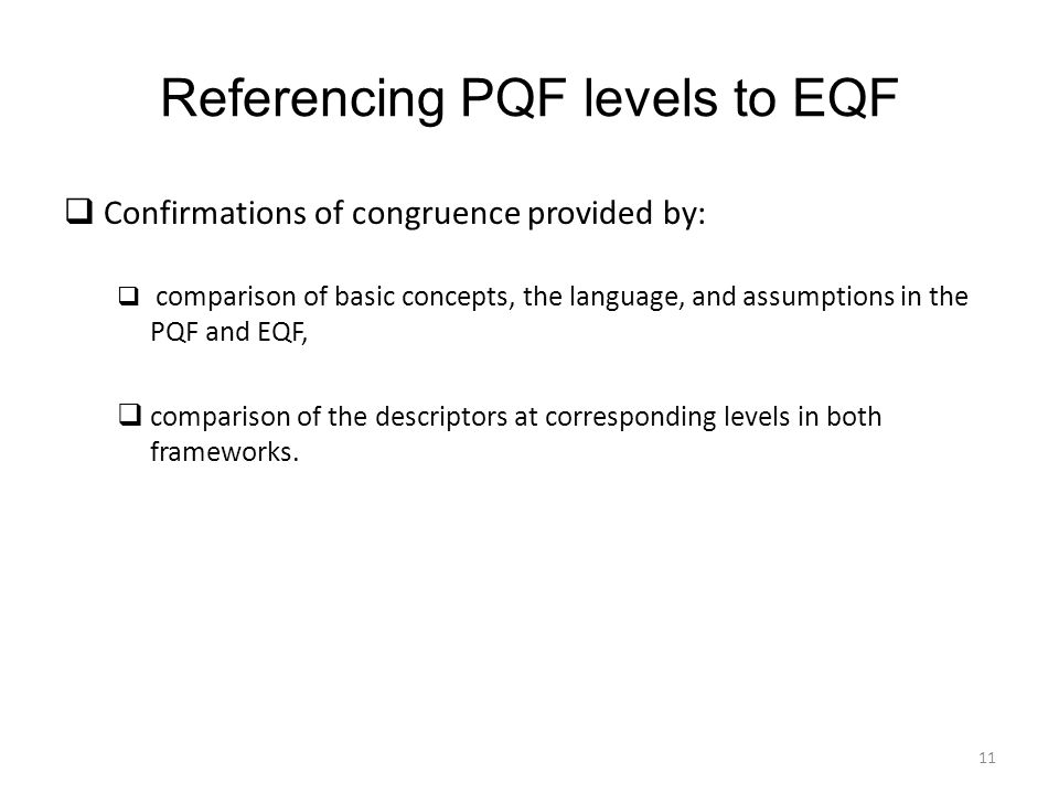 Referencing PQF levels to EQF