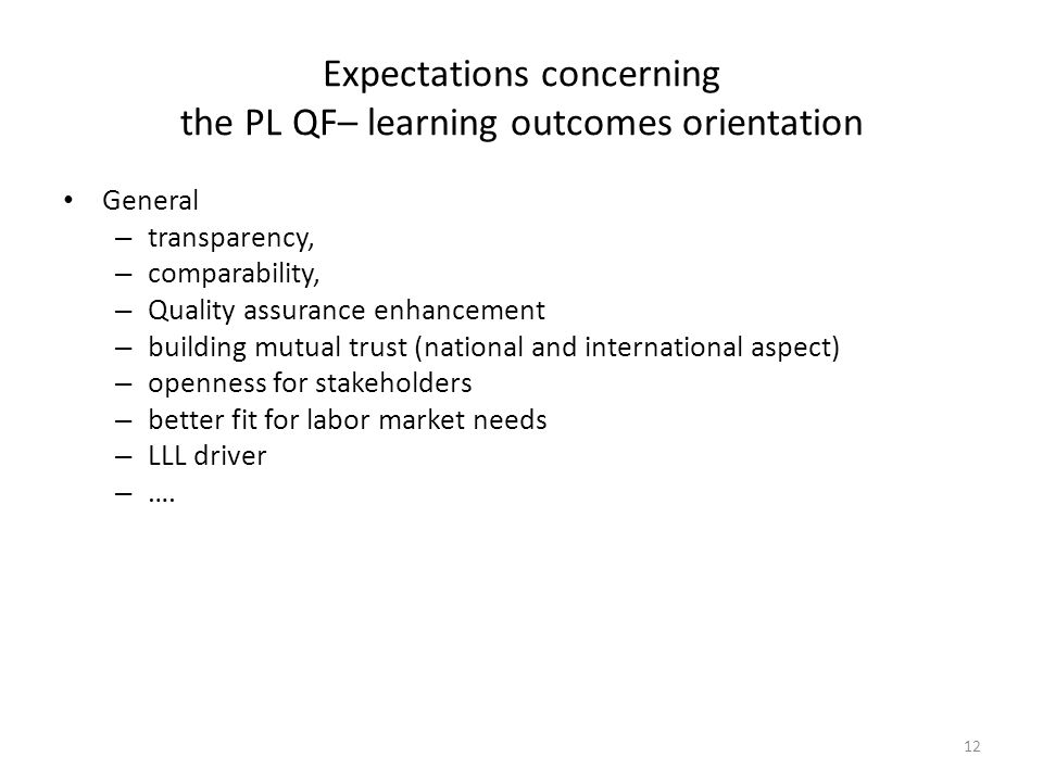 Expectations concerning the PL QF– learning outcomes orientation