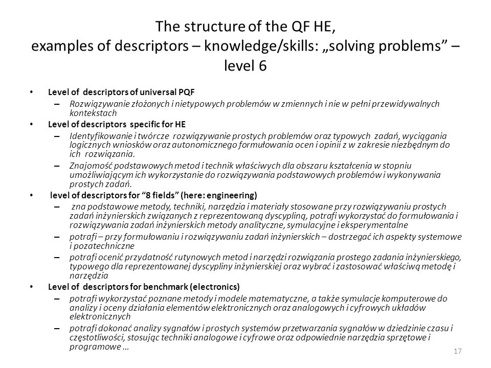 "The structure of the QF HE, examples of descriptors – knowledge/skills: ""solving problems – level 6"