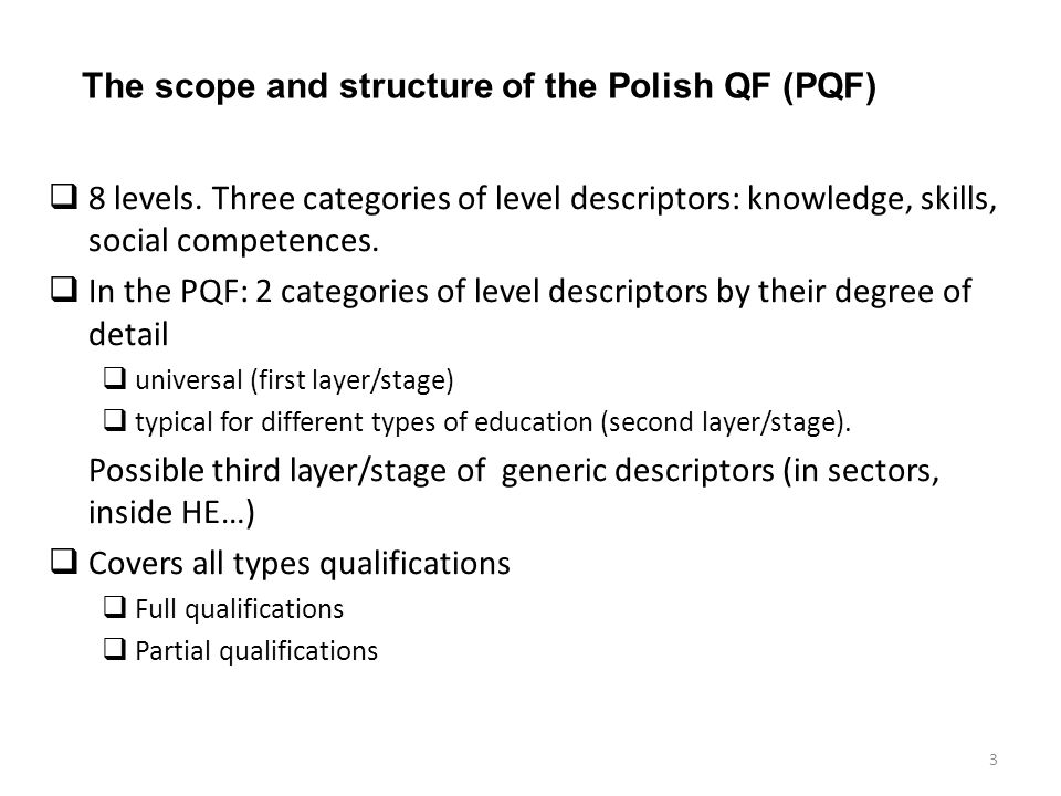 The scope and structure of the Polish QF (PQF)