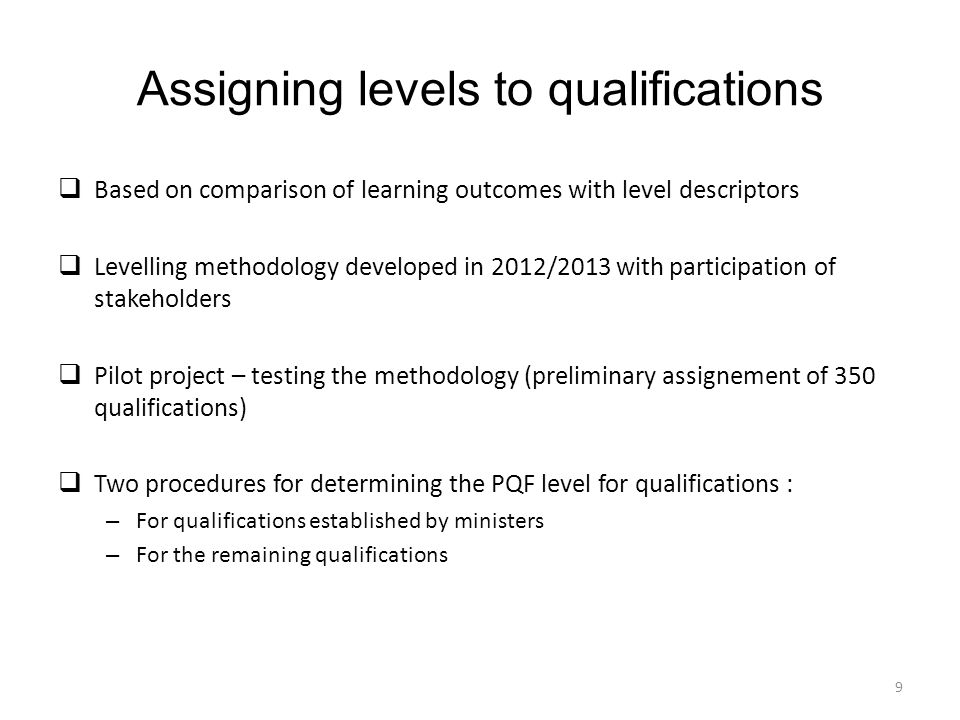 Assigning levels to qualifications