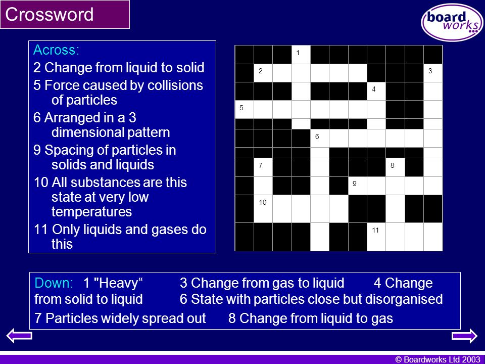 Crossword Across: 2 Change from liquid to solid