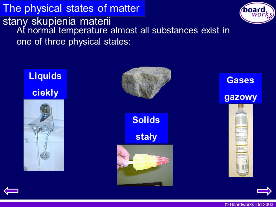 The physical states of matter stany skupienia materii