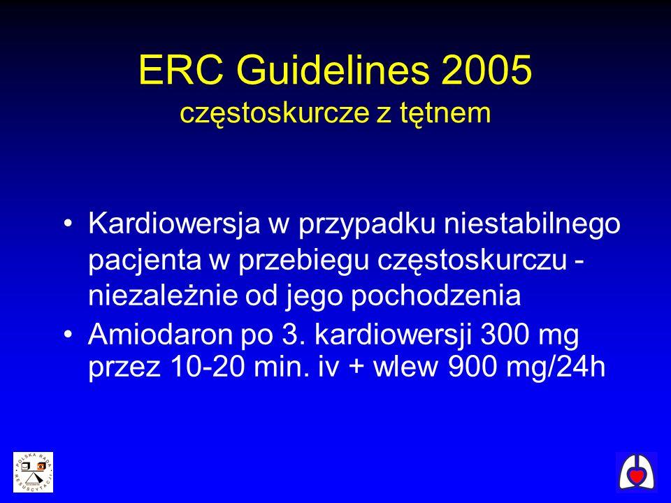 ERC Guidelines 2005 częstoskurcze z tętnem
