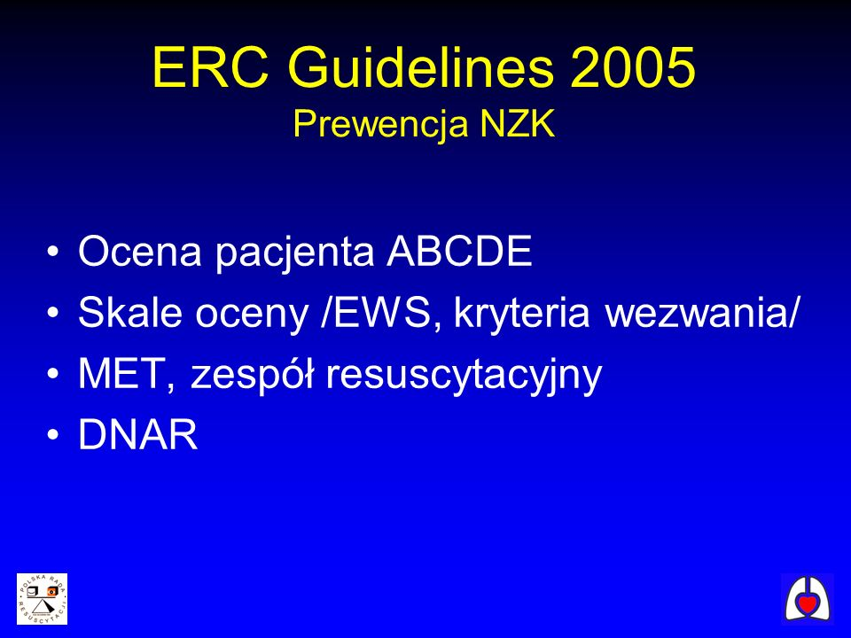 ERC Guidelines 2005 Prewencja NZK
