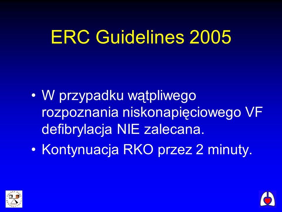 ERC Guidelines 2005 W przypadku wątpliwego rozpoznania niskonapięciowego VF defibrylacja NIE zalecana.
