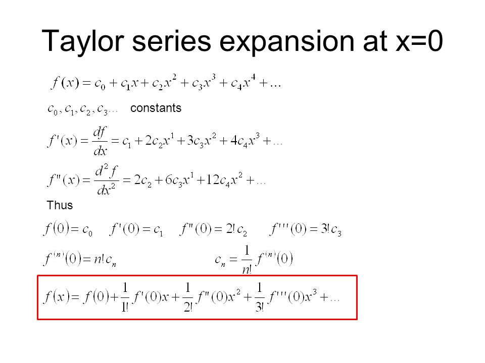 Taylor series expansion at x=0