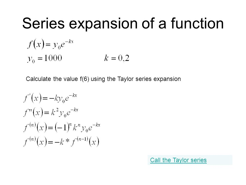 Series expansion of a function