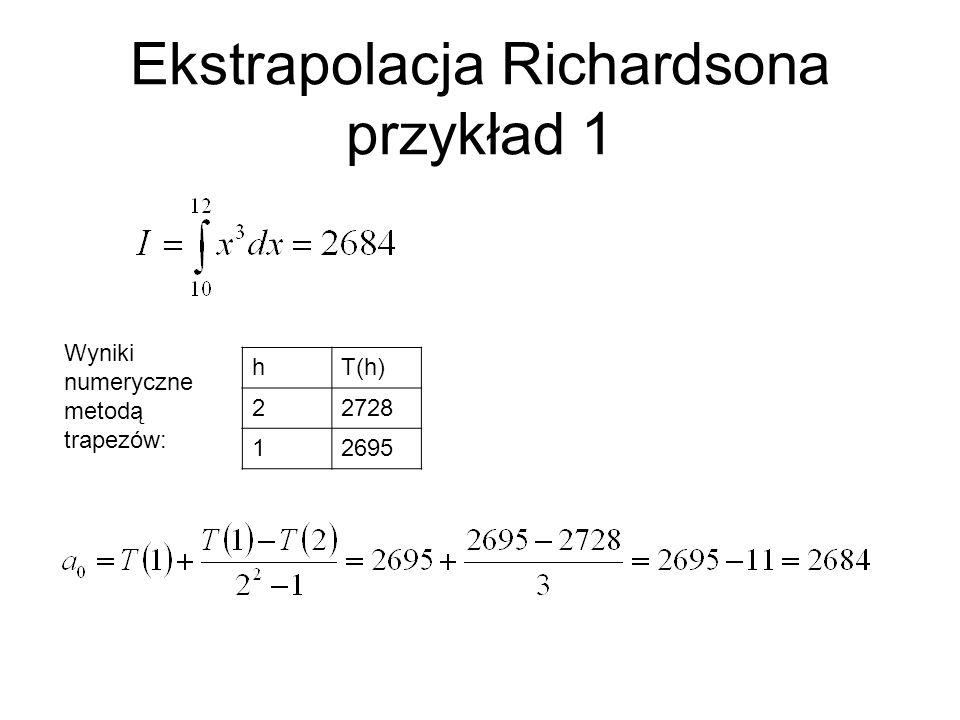 Ekstrapolacja Richardsona przykład 1