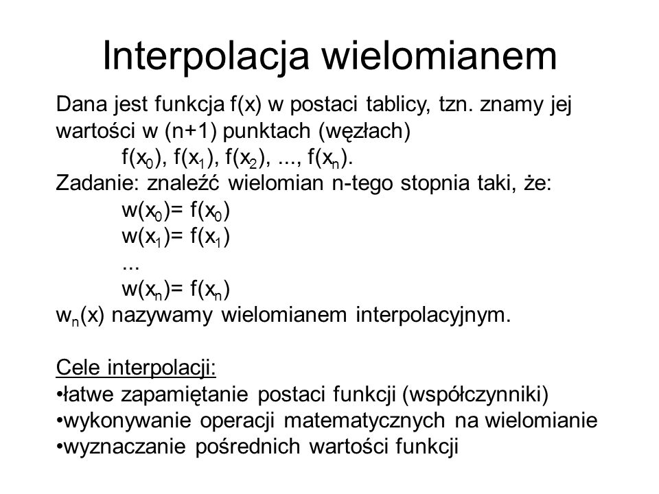 Interpolacja wielomianem