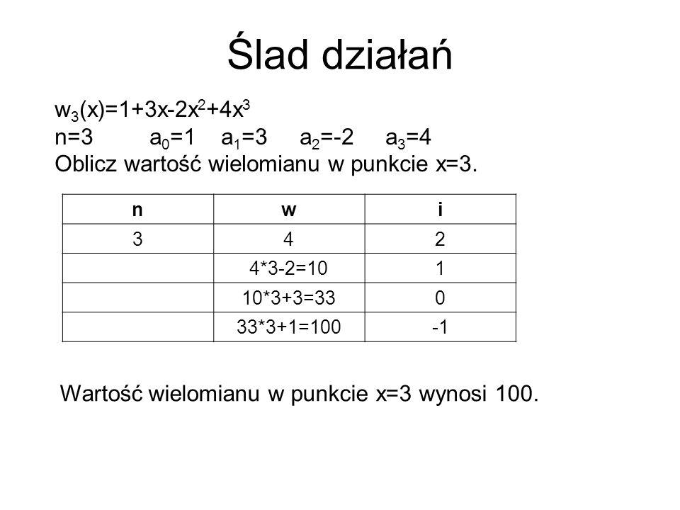 Ślad działań w3(x)=1+3x-2x2+4x3 n=3 a0=1 a1=3 a2=-2 a3=4