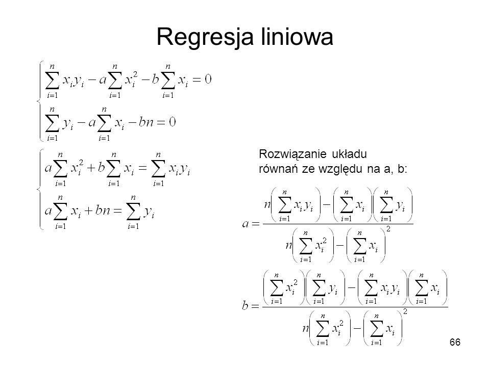 Regresja liniowa Rozwiązanie układu równań ze względu na a, b:
