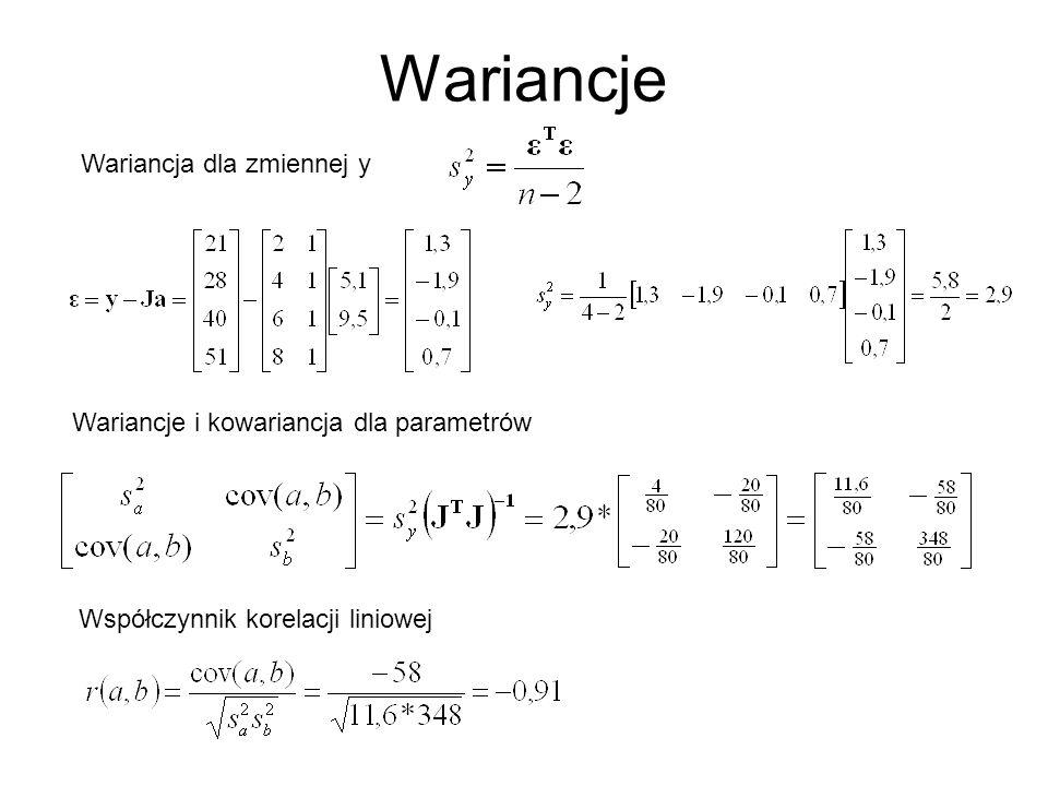 Wariancje Wariancja dla zmiennej y