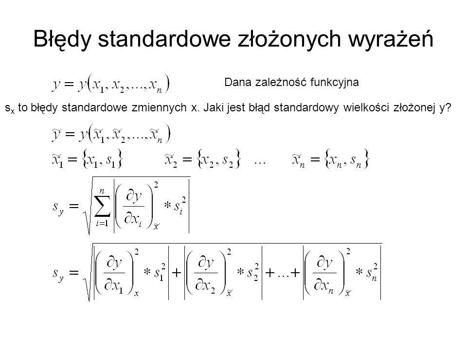 Błędy standardowe złożonych wyrażeń