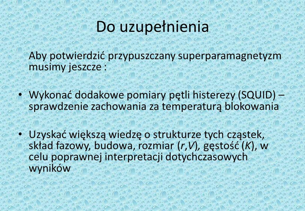 Do uzupełnienia Aby potwierdzić przypuszczany superparamagnetyzm musimy jeszcze :