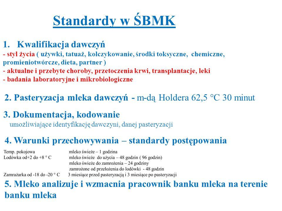 Standardy w ŚBMK Kwalifikacja dawczyń