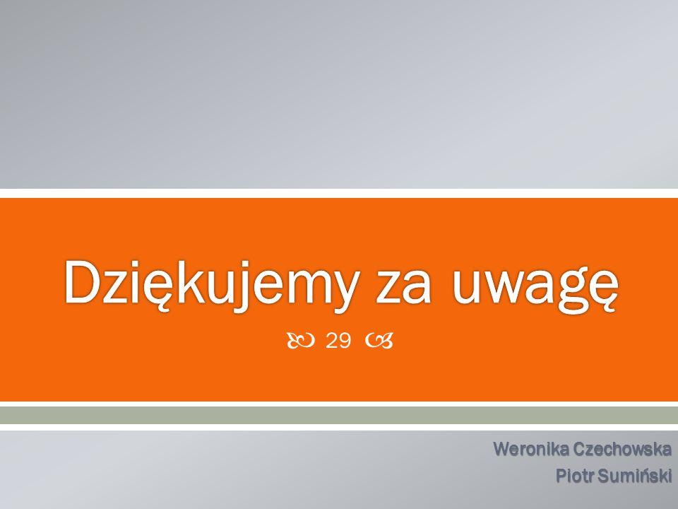 Dziękujemy za uwagę Weronika Czechowska Piotr Sumiński