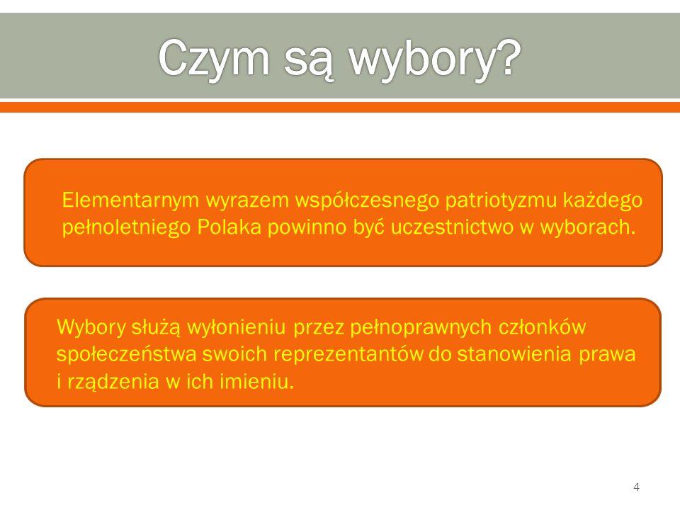 Czym są wybory Elementarnym wyrazem współczesnego patriotyzmu każdego pełnoletniego Polaka powinno być uczestnictwo w wyborach.