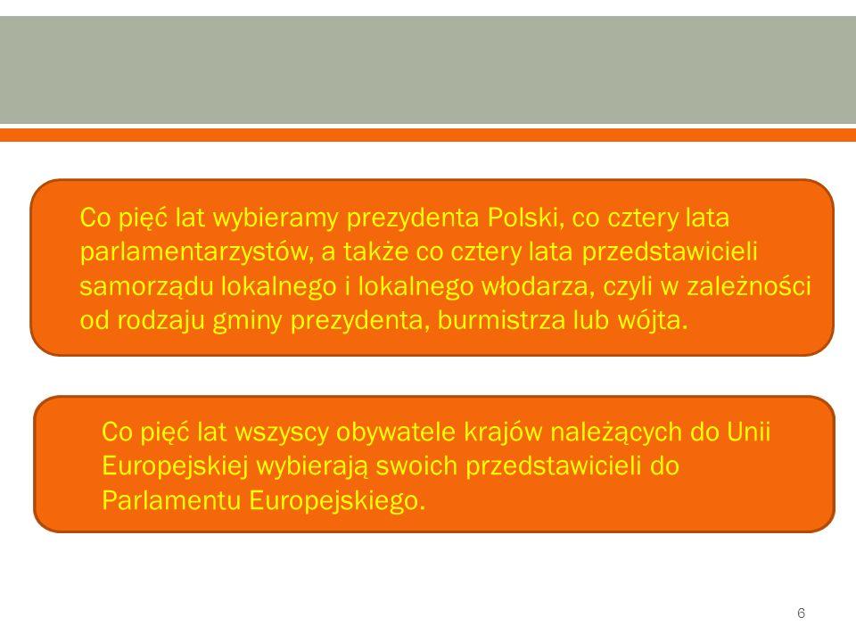 Co pięć lat wybieramy prezydenta Polski, co cztery lata parlamentarzystów, a także co cztery lata przedstawicieli samorządu lokalnego i lokalnego włodarza, czyli w zależności od rodzaju gminy prezydenta, burmistrza lub wójta.