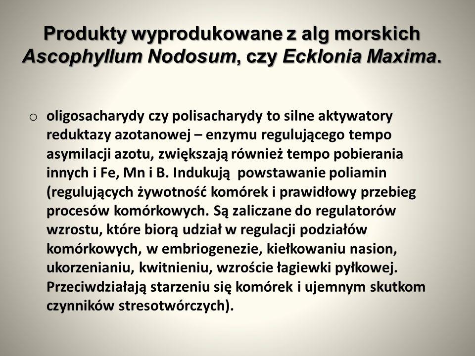 Produkty wyprodukowane z alg morskich Ascophyllum Nodosum, czy Ecklonia Maxima.