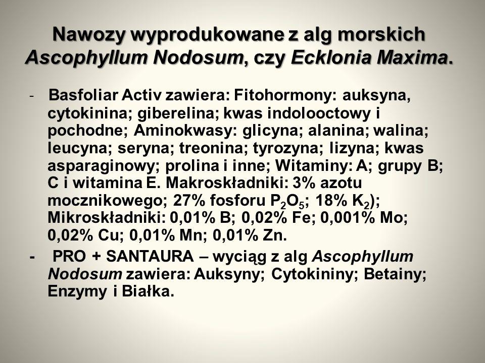 Nawozy wyprodukowane z alg morskich Ascophyllum Nodosum, czy Ecklonia Maxima.