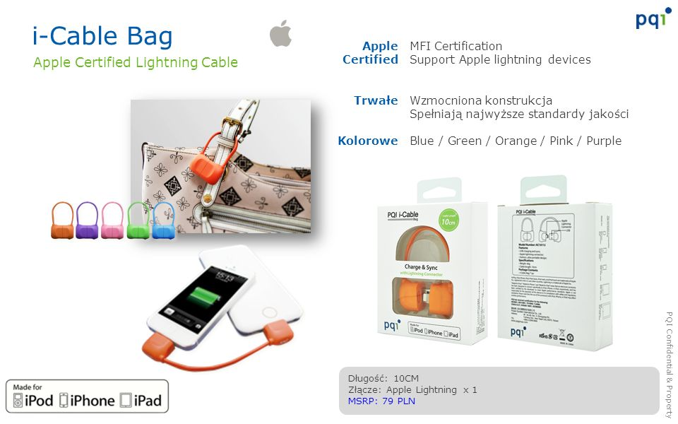 i-Cable Bag Apple Certified Lightning Cable Apple Certified Trwałe