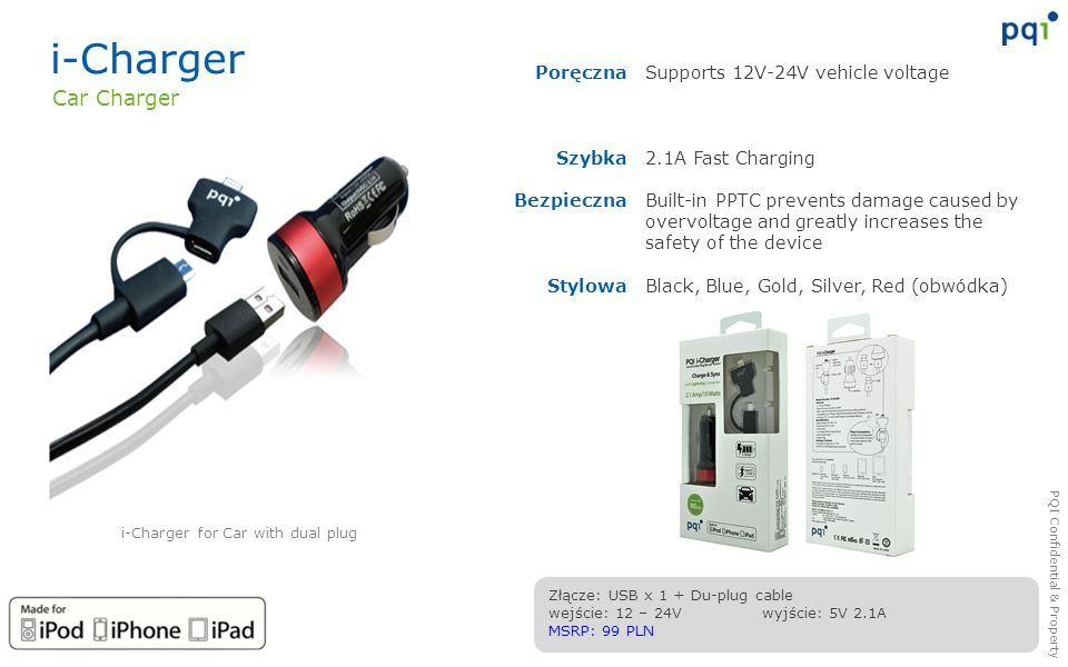 i-Charger for Car with dual plug