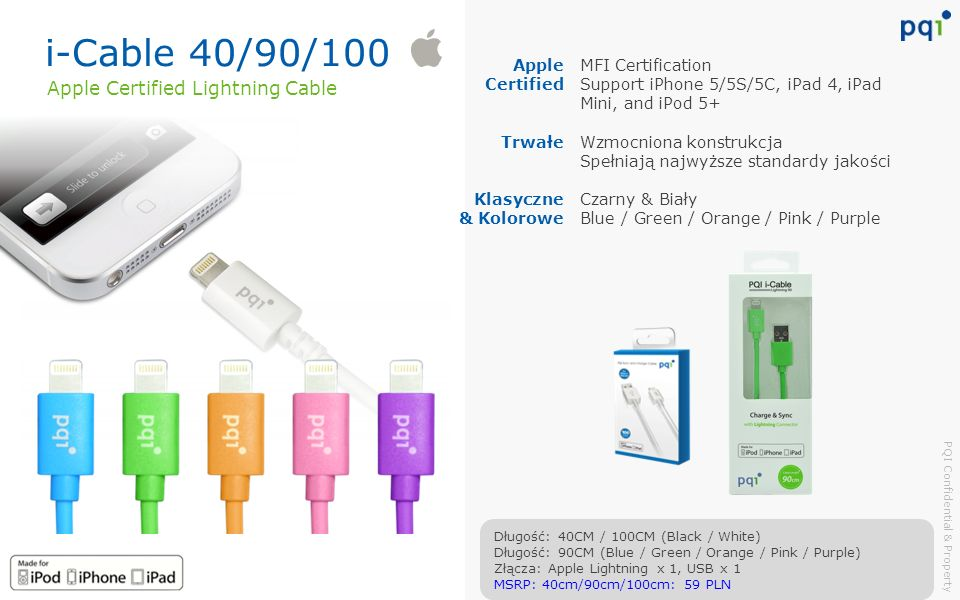 i-Cable 40/90/100 Apple Certified Lightning Cable Apple Certified