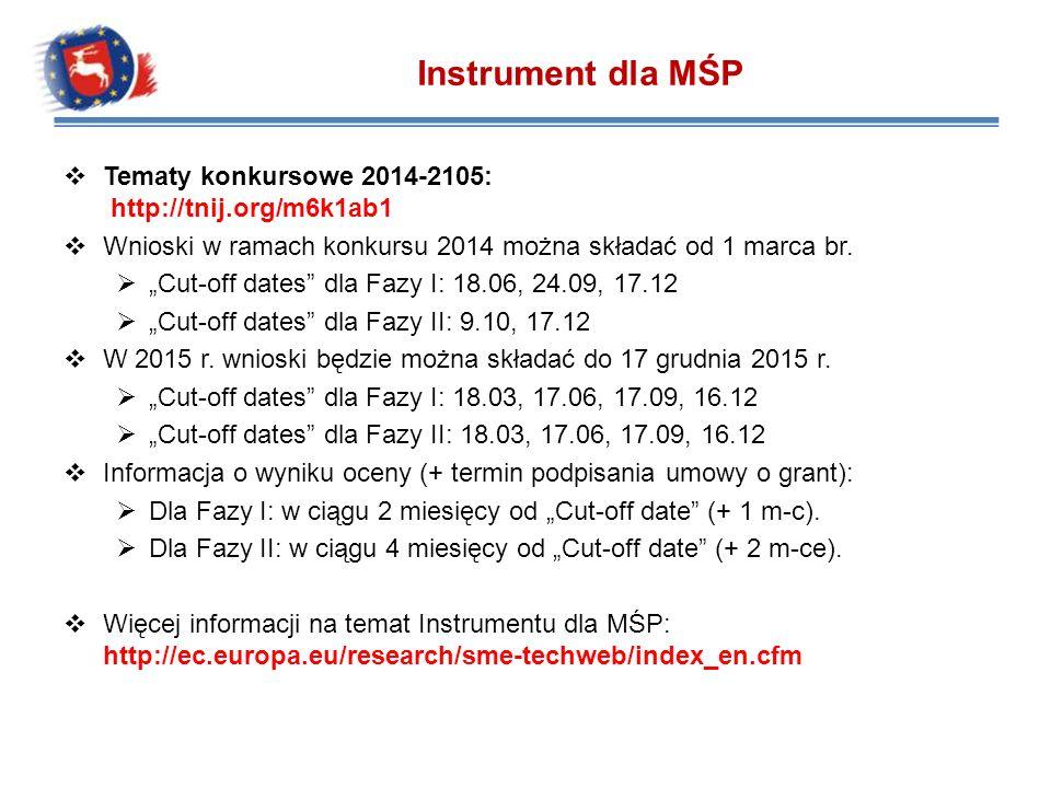 Instrument dla MŚP Tematy konkursowe 2014-2105: http://tnij.org/m6k1ab1. Wnioski w ramach konkursu 2014 można składać od 1 marca br.