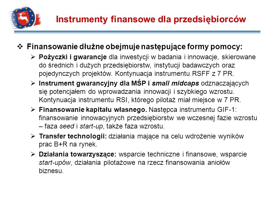 Instrumenty finansowe dla przedsiębiorców