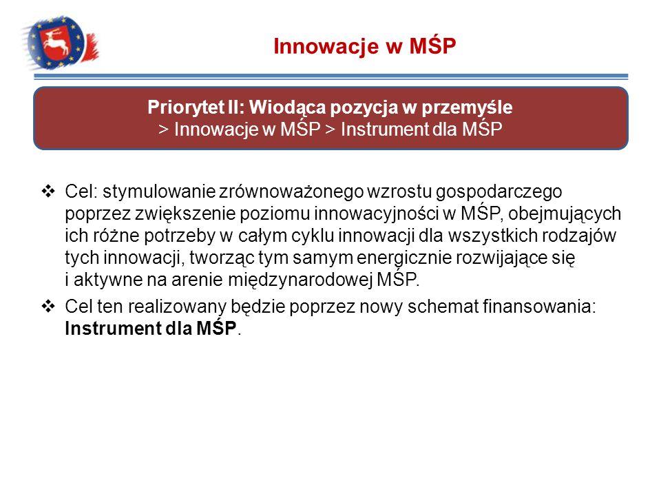 Innowacje w MŚP Priorytet II: Wiodąca pozycja w przemyśle > Innowacje w MŚP > Instrument dla MŚP.