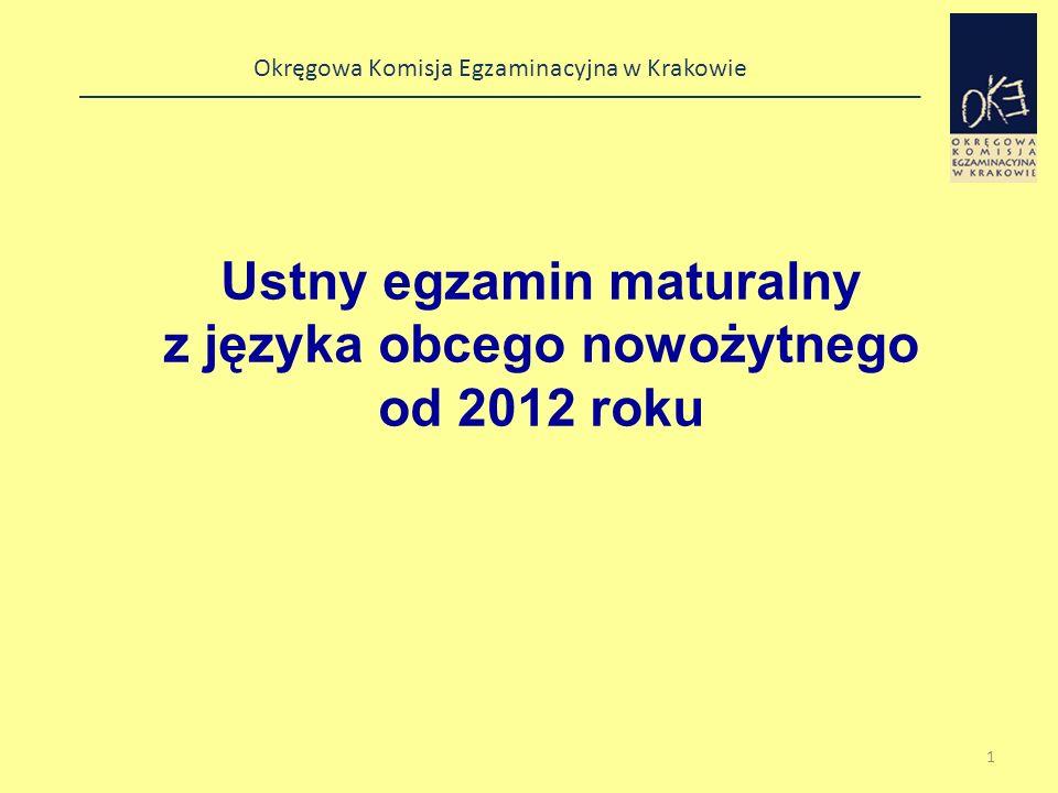 Ustny egzamin maturalny z języka obcego nowożytnego od 2012 roku