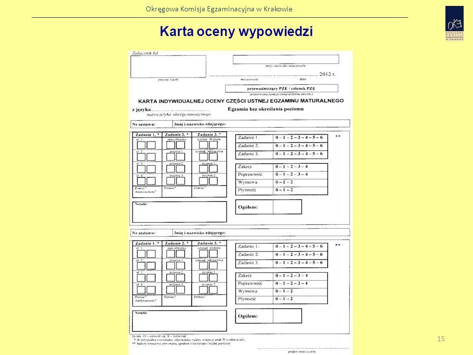 Karta oceny wypowiedzi