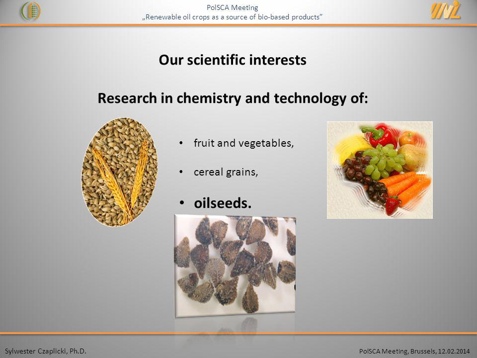 Our scientific interests Research in chemistry and technology of: