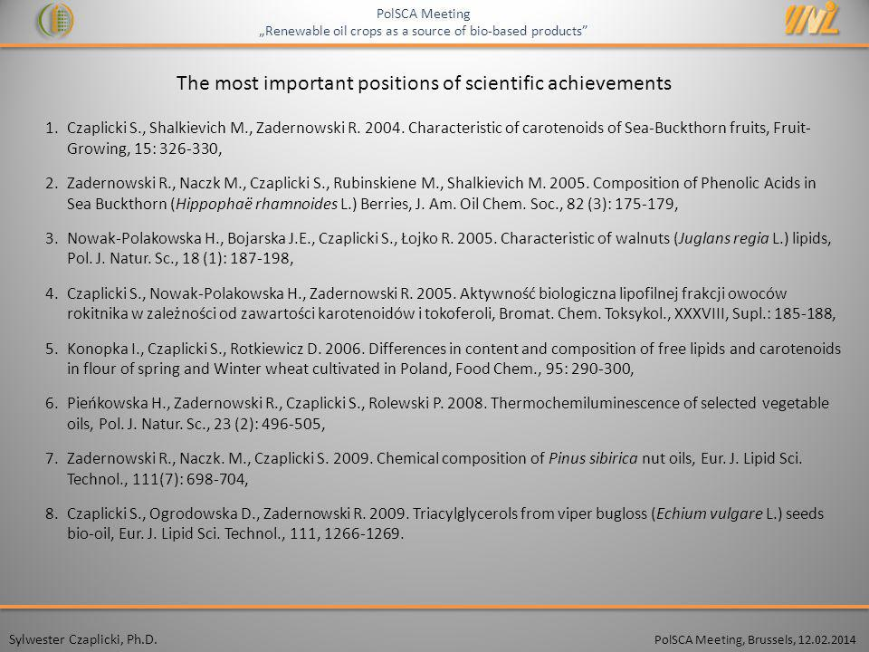 The most important positions of scientific achievements