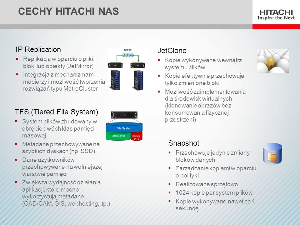 Cechy Hitachi NAS IP Replication JetClone TFS (Tiered File System)
