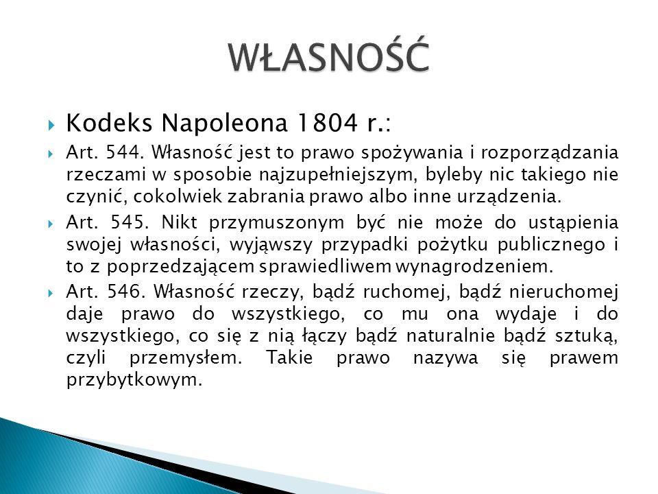 WŁASNOŚĆ Kodeks Napoleona 1804 r.: