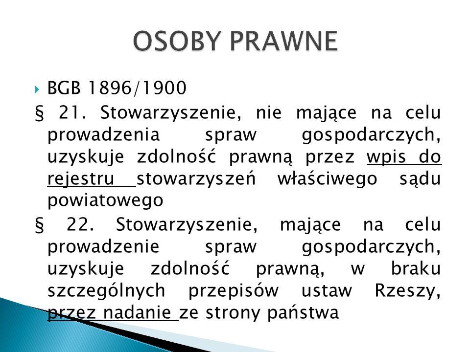 OSOBY PRAWNE BGB 1896/1900.