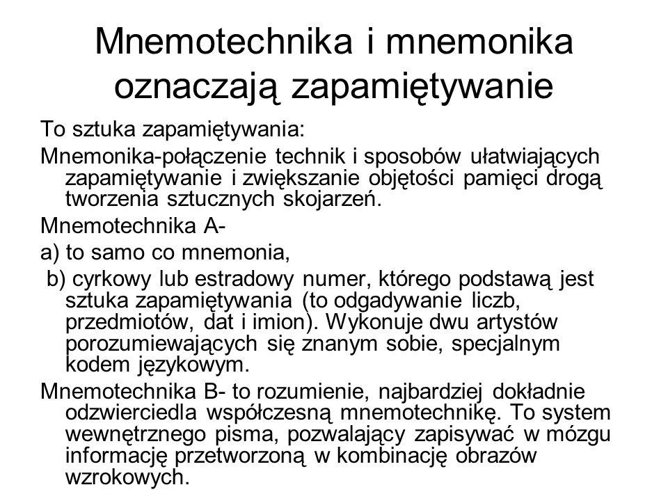 Mnemotechnika i mnemonika oznaczają zapamiętywanie