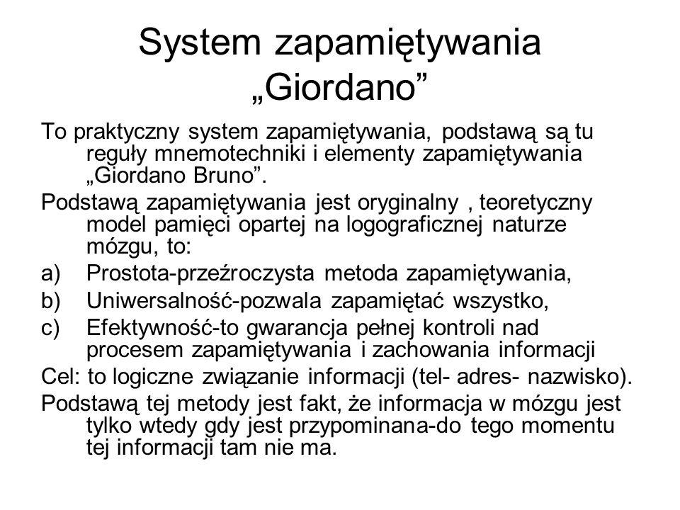 """System zapamiętywania """"Giordano"""