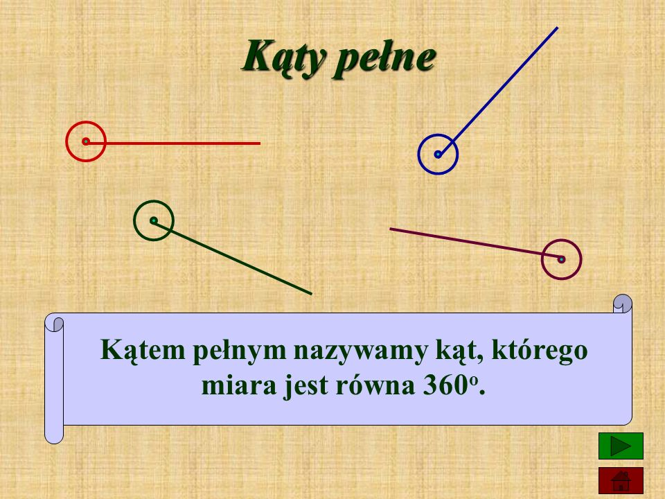 Kątem pełnym nazywamy kąt, którego miara jest równa 360o.